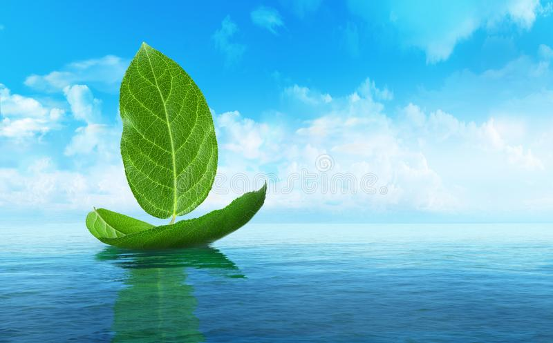 Nave fatta delle foglie illustrazione 3D illustrazione vettoriale