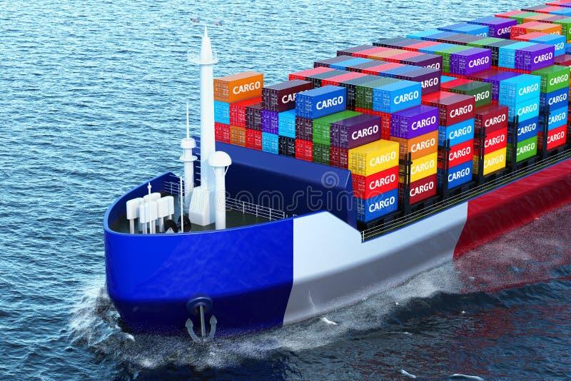 Nave francesa del carguero con los contenedores para mercancías que navegan en el océano, 3D libre illustration