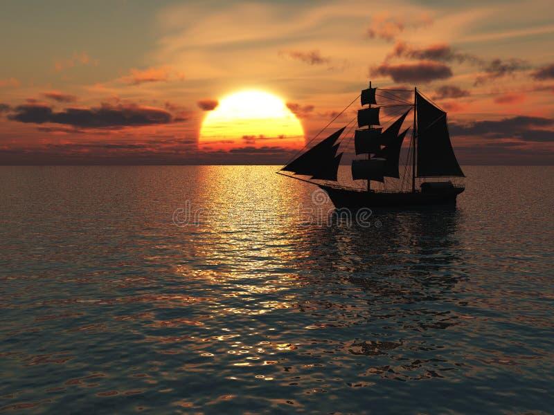 Nave fuori in mare al tramonto. illustrazione di stock