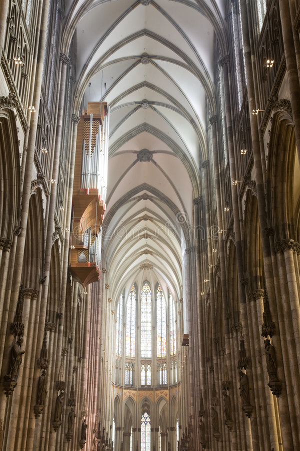 Nave of gothic Dom in Cologne royalty free stock photos
