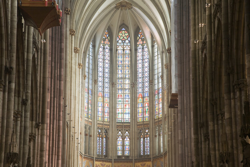 Nave of gothic Dom in Cologne royalty free stock images