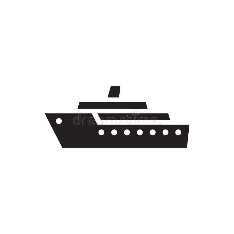 Nave - icona nera sull'illustrazione bianca di vettore del fondo Segno marino di concetto della barca a vela Simbolo di trasporto royalty illustrazione gratis