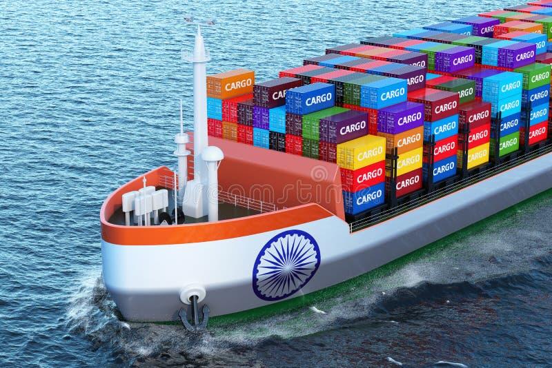 Nave india del carguero con los contenedores para mercancías que navegan en el océano, 3D stock de ilustración