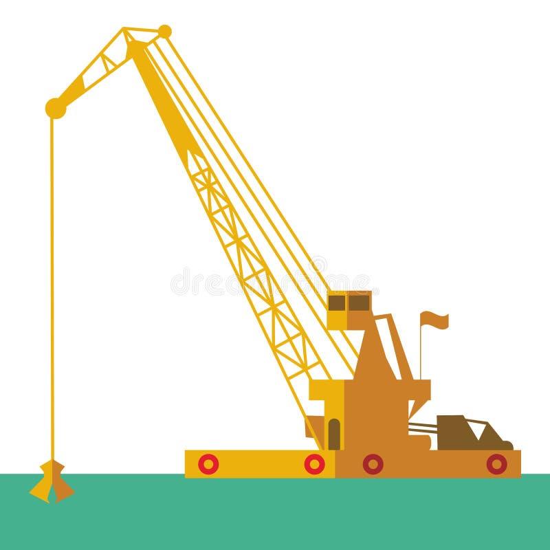 Nave industriale della chiatta gru enorme che scava il fondo del mare di scavatura di dragaggio del marinaio della sabbia Vettore royalty illustrazione gratis