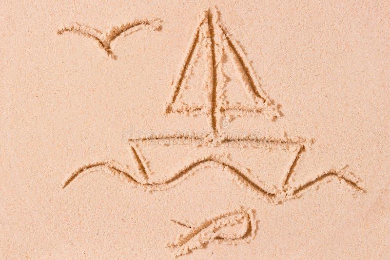 Nave in mare e gabbiano disegnato fotografia stock libera da diritti
