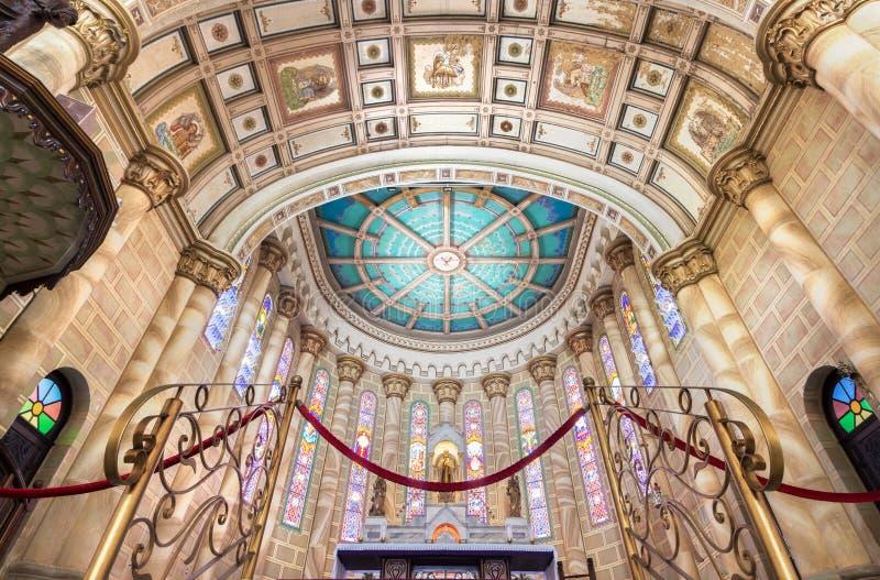The Nave of The Matriz Church, Igreja do Santissimo Sacramento i. Itajai, Santa Catarina, Brazil - February 22th, 2018: View of the nave of the Matriz Church stock image