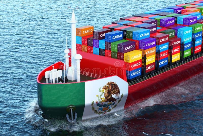 Nave mexicana del carguero con los contenedores para mercancías que navegan en el océano, 3 libre illustration