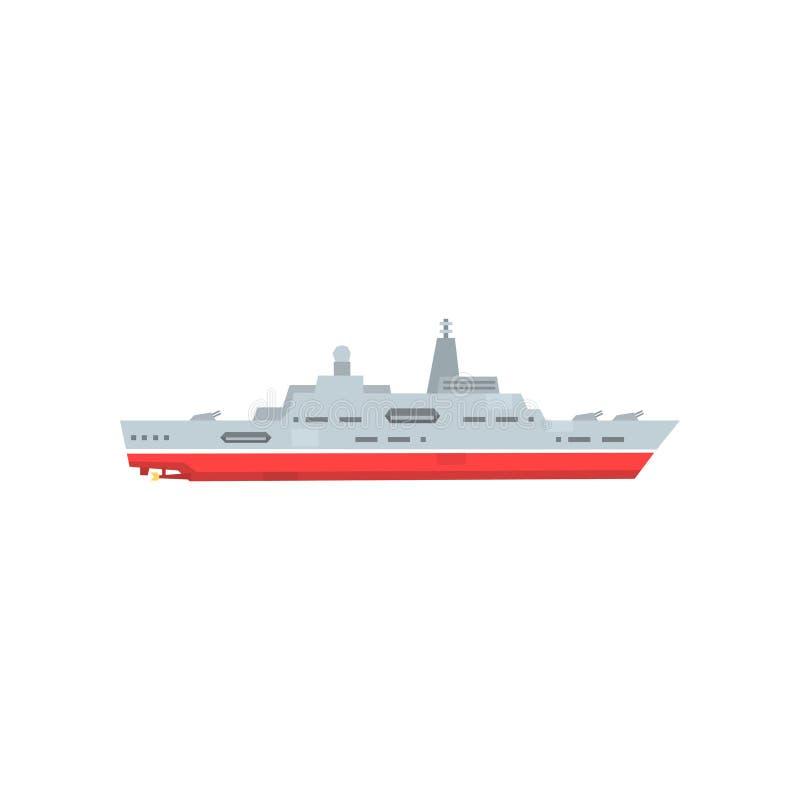 Nave militar del vapor con la artillería y el radar Icono del buque de guerra de la batalla Barco acorazado de la marina de guerr ilustración del vector
