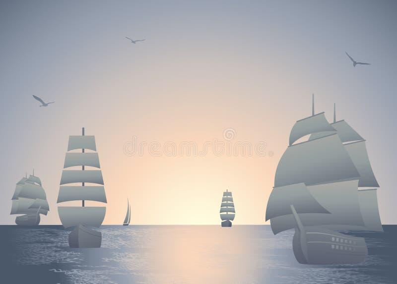 Nave nel tramonto illustrazione di stock