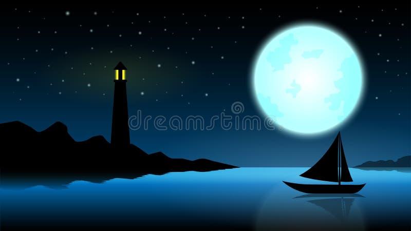 Nave nella notte della luna piena; oceano blu con il faro a metà di fotografie stock libere da diritti