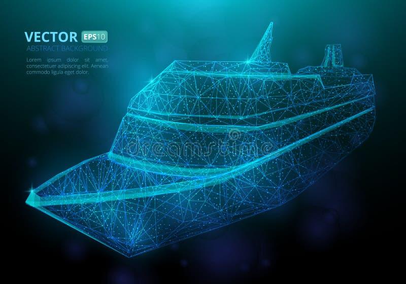 Nave o barco marina poligonal abstracta con textura del cielo estrellado stock de ilustración