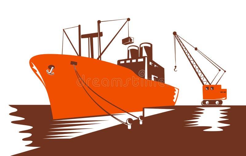 Nave porta-container che è caricata vicino illustrazione di stock