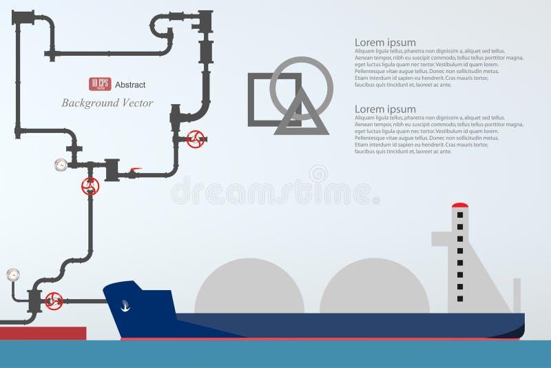 Nave porta-container, gru ad alta altitudine con un contenitore, porto marittimo royalty illustrazione gratis