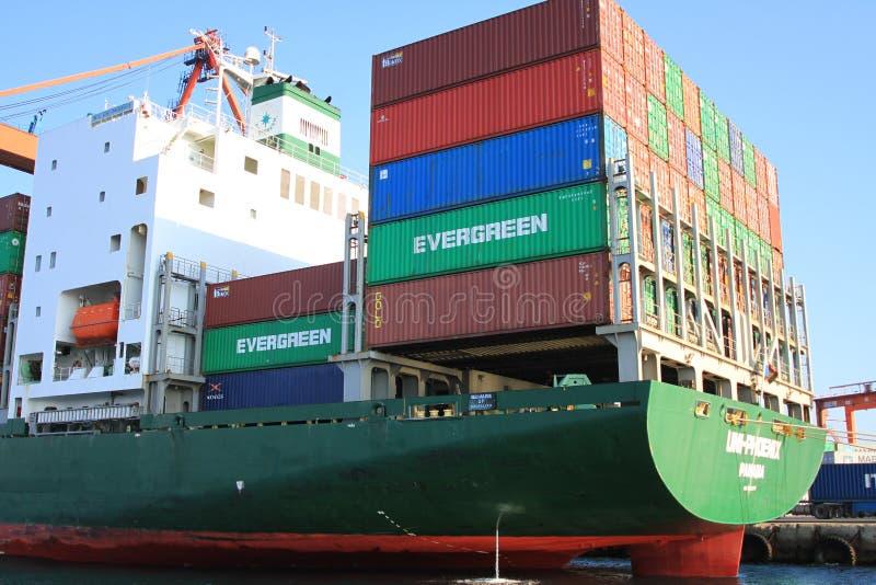 Nave porta-container verde immagine stock