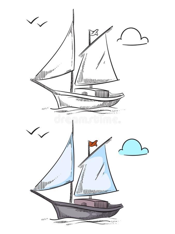 Nave que colorea Barco dibujado mano aislado en el fondo blanco stock de ilustración