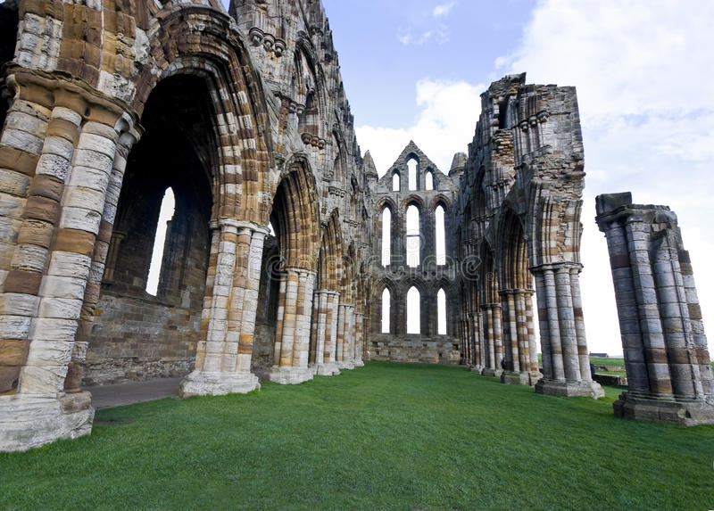 The Nave Of The Ruined Whitby Abbey, England. Stock Images