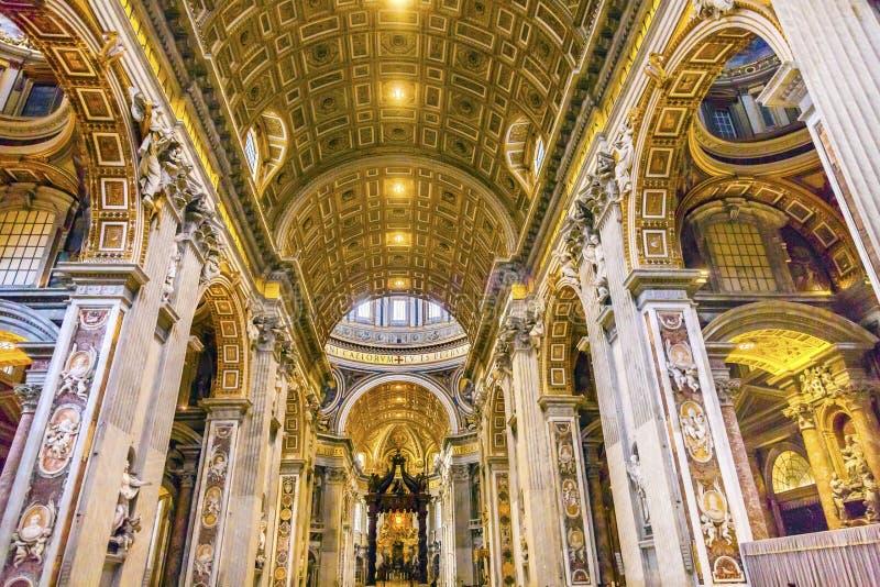 Nave Saint Peter`s Basilica Bernini Baldacchino Vatican Rome Italyy. Nave Saint Peter`s Basilica Bernini Baldacchino Holy Spirit Dove Vatican Rome Italy stock images