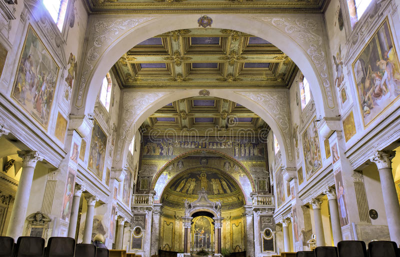 Nave of San Pietro in Vincoli. Rome, Italy royalty free stock images