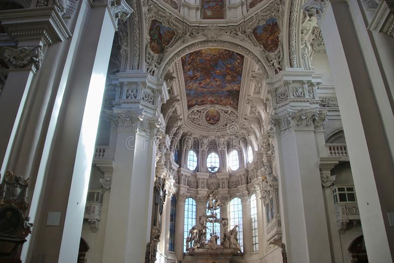 Nave and sanctuary of the baroque St Stephen's cathedral, Passau, Germany. stock photo