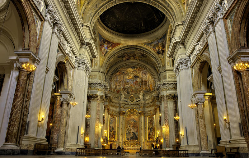 Nave of Sant Ignazio Loyola. Nave of baroque basilica Sant Ignazio Loyola, Rome, Italy stock photos