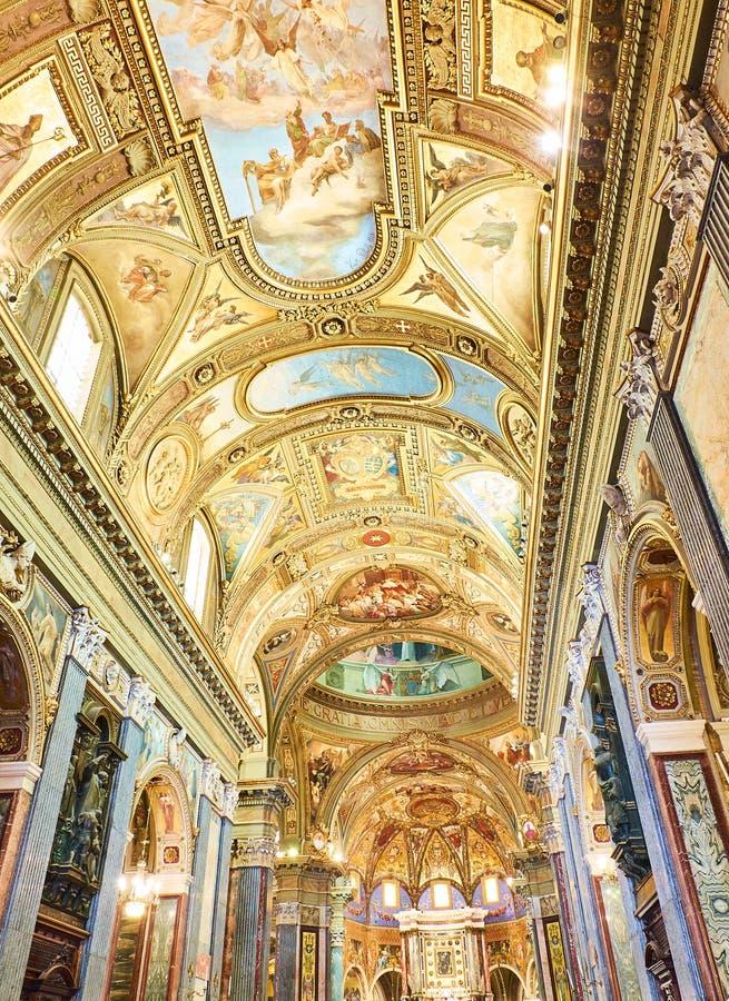 Santuario della Beata Vergine del Rosario. Pompei, Italy. Nave of Santuario della Beata Vergine del Rosario & x28;Sanctuary of the Madonna of the Rosary& x29 royalty free stock images