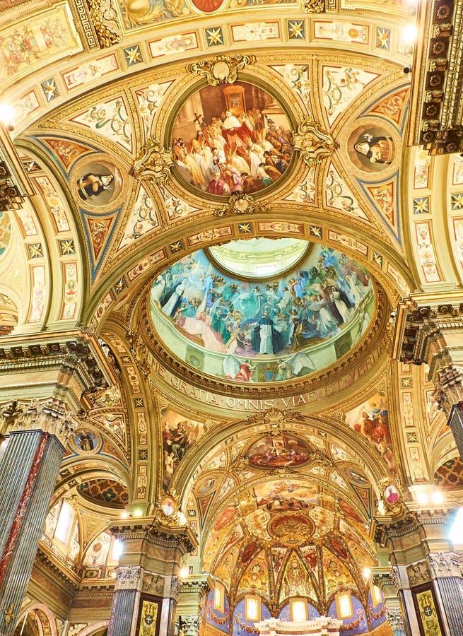 Santuario della Beata Vergine del Rosario. Pompei, Italy. Nave of Santuario della Beata Vergine del Rosario Sanctuary of the Madonna of the Rosary. Pompei stock photos