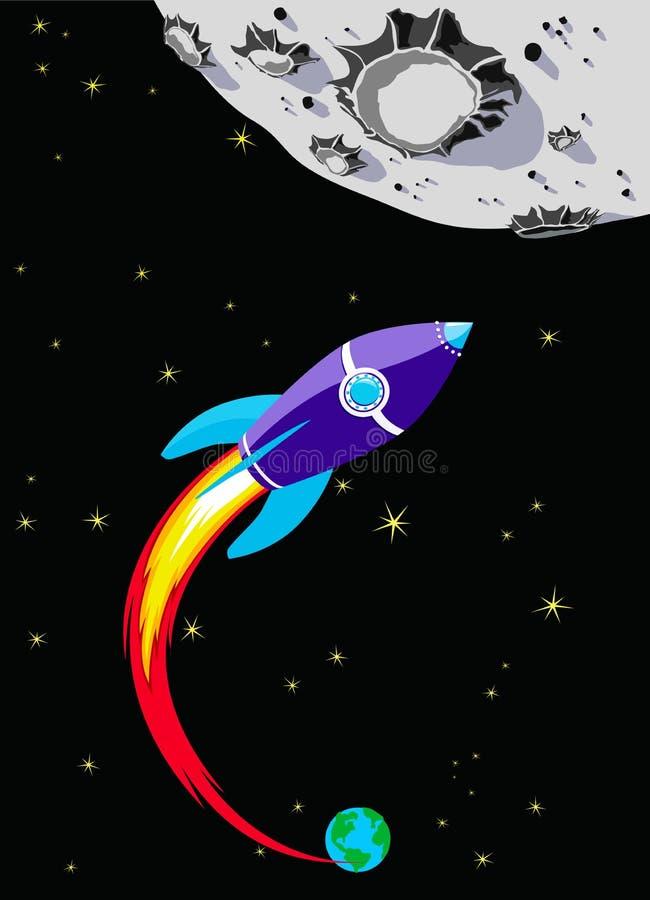 Nave spaziale del Rocket alla luna illustrazione vettoriale