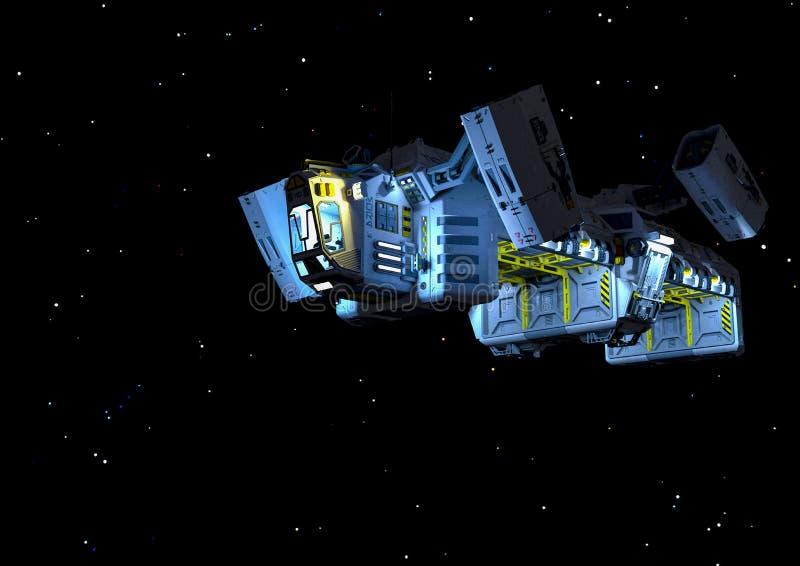 Nave spaziale di carico galleggiante sulle stelle illustrazione vettoriale