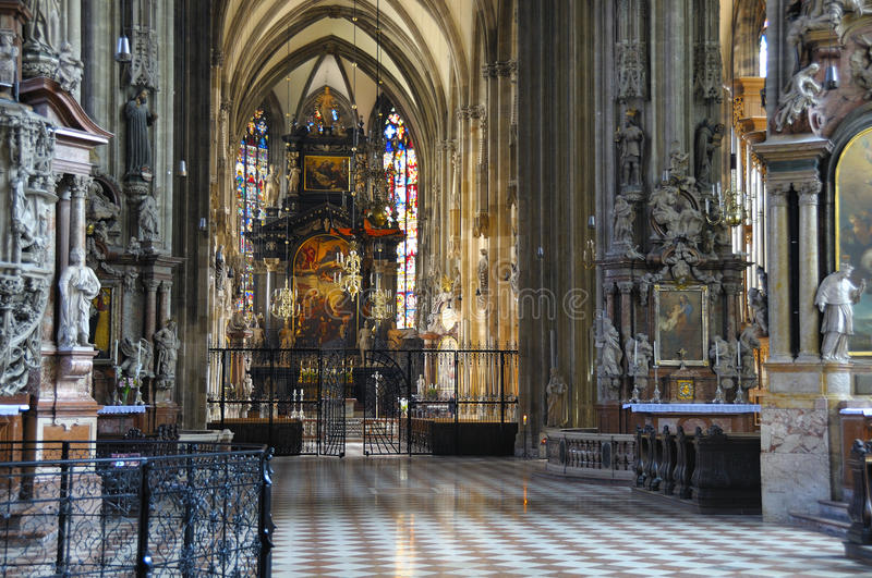 Nave of the Stefansdom, Vienna. The impressive nave of the world famous gothic cathedral of St. Stefan, Vienna, Austria royalty free stock photography