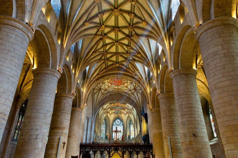 The Nave, Tewkesbury Abbey, Gloucestershire, England, UK. stock photo