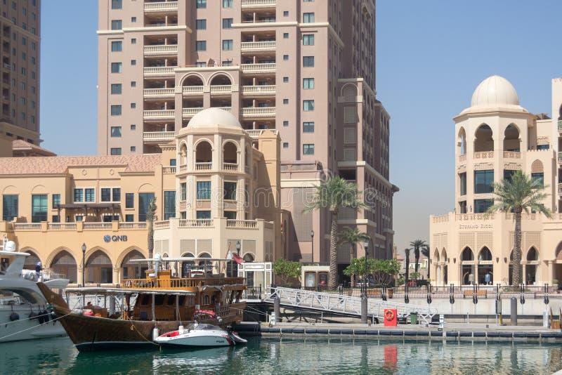 Nave tradicional en el muelle de Doha foto de archivo