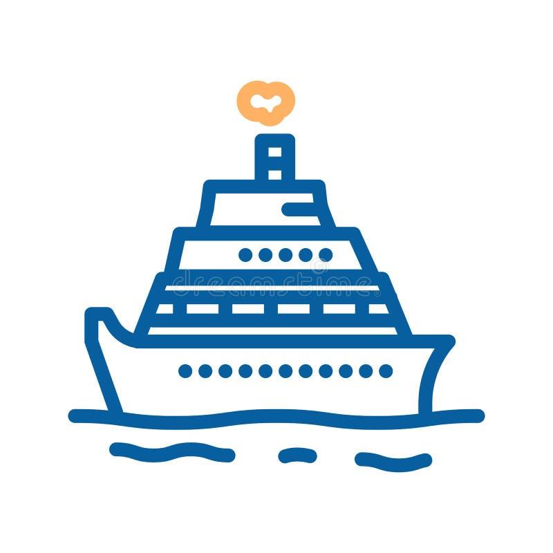 Nave turística de la travesía del vector Línea fina ejemplo del icono del barco para las vacaciones, días de fiesta, verano, acti stock de ilustración