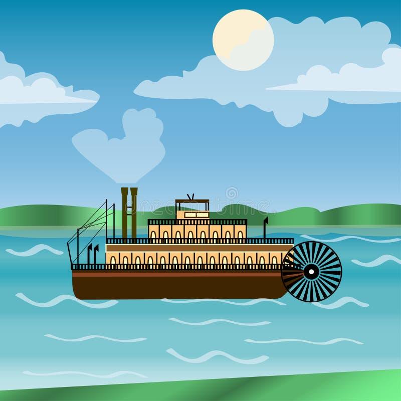 Nave a vapore d'annata che naviga giù il fiume Mississippi royalty illustrazione gratis