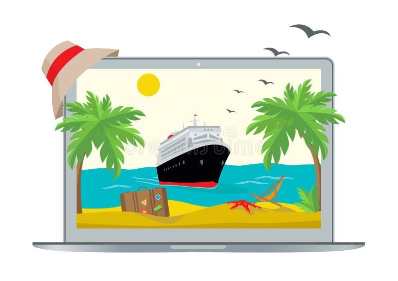 Nave vicino alla spiaggia nel monitor del computer portatile illustrazione di stock