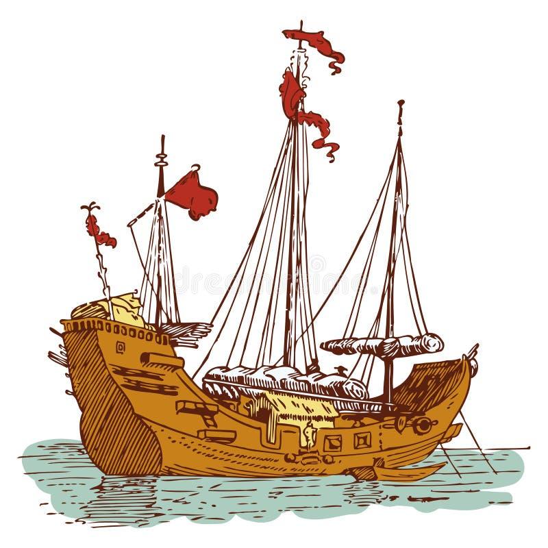 Nave vieja del chino ilustración del vector
