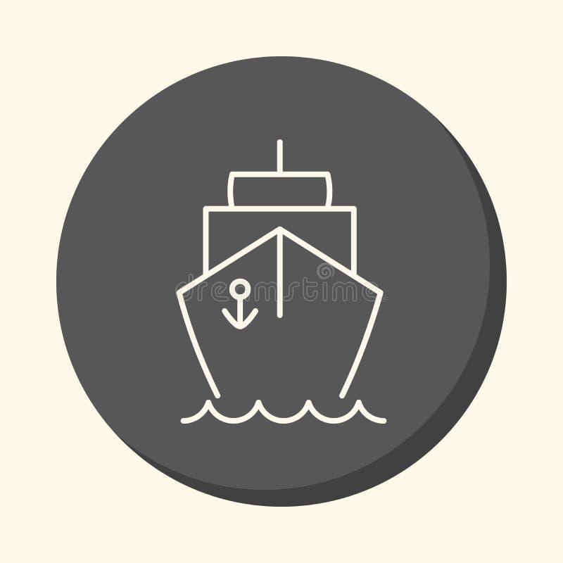 Nave y mar, icono linear redondo con la ilusión del volumen ilustración del vector