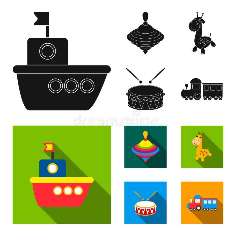 Nave, yule, giraffa, tamburo I giocattoli hanno messo le icone della raccolta nel web nero e piano dell'illustrazione delle azion illustrazione vettoriale