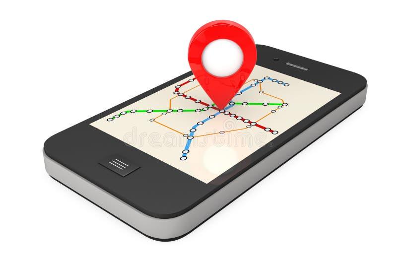 Navegação através de Smartphone Ponteiro do lugar no telefone com Abstra ilustração stock