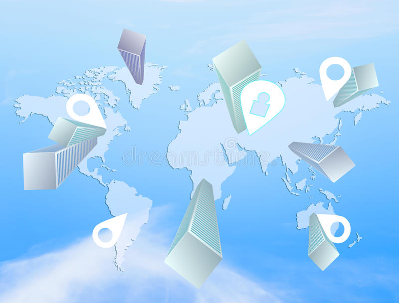 Navegação do mapa do mundo ilustração stock