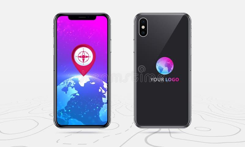 Navegação do mundo do mapa, parte dianteira e aplicação traseira do mapa do smartphone com o vermelho pontual na tela, navegação  ilustração royalty free