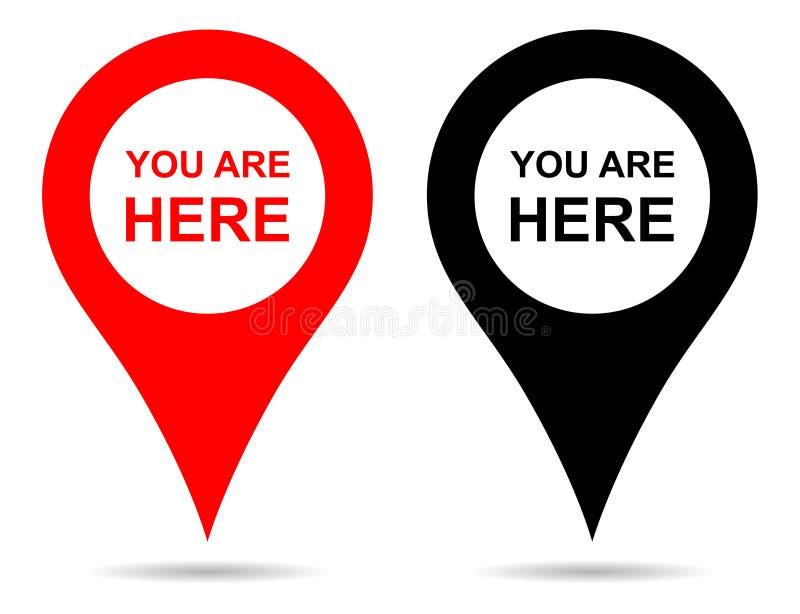 Navegação do pino do mapa do ponteiro do vetor Você está aqui sinal ilustração stock