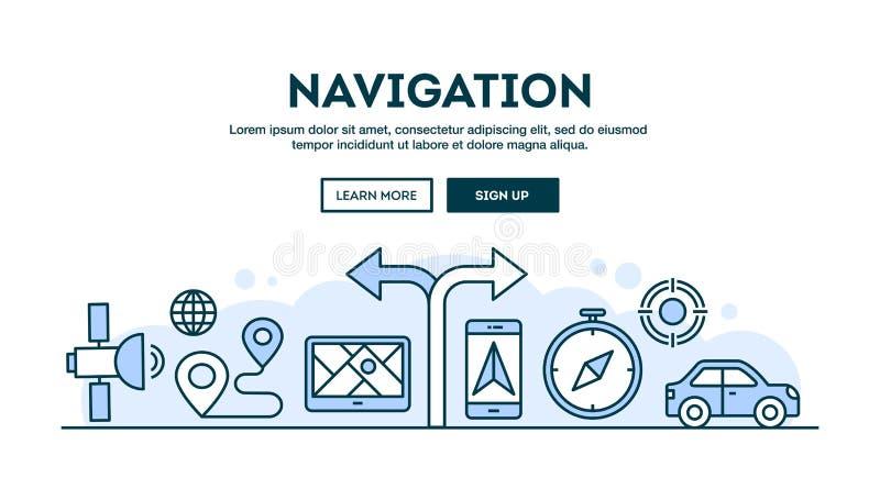 Navegação, encabeçamento do conceito, linha fina estilo do projeto liso ilustração do vetor