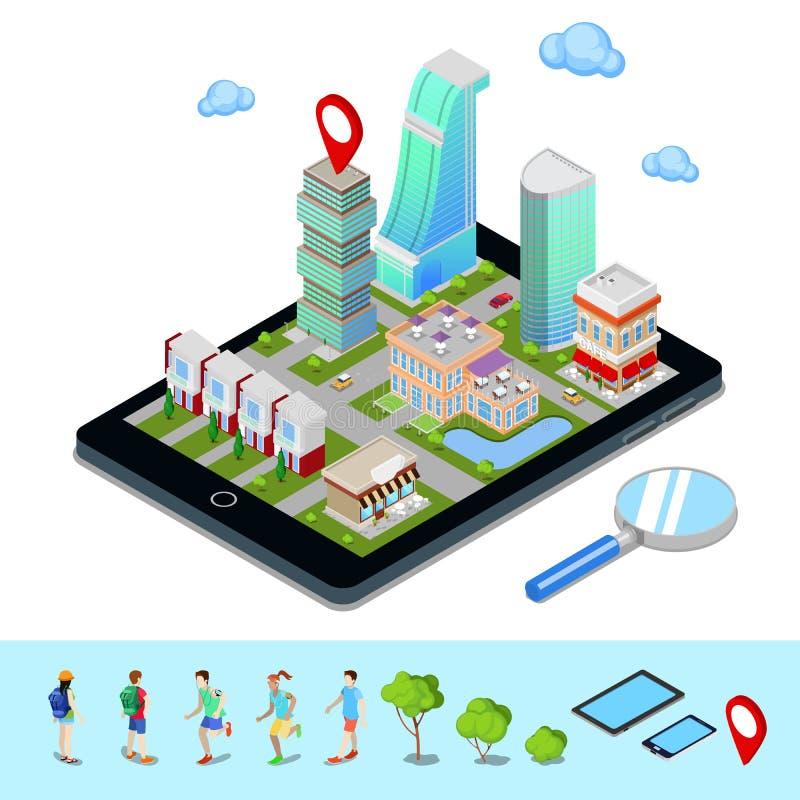 Navegação móvel isométrica Indústria do turismo Cidade moderna ilustração stock