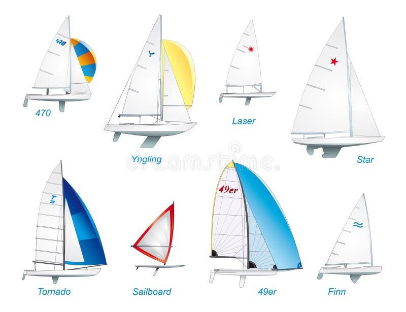 Navegación. Clases olímpicas del barco de vela libre illustration