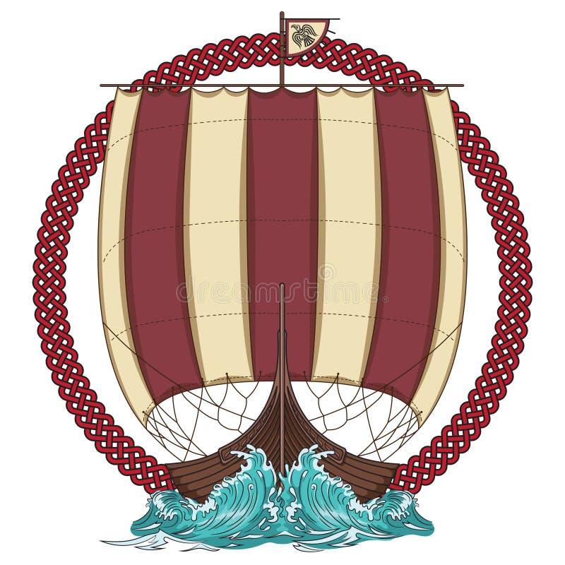Navegación de Drakkar en el mar tempestuoso en el marco de la guirnalda escandinava con una cabeza del lobo libre illustration