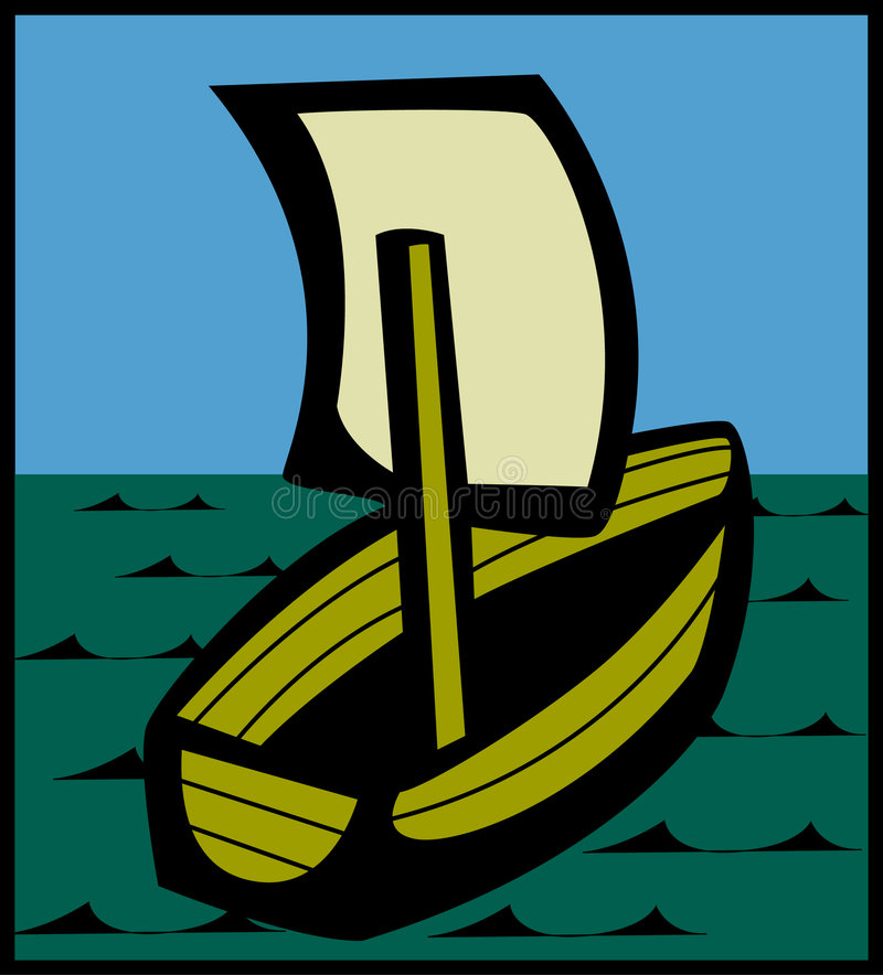 Navegación de la pequeña nave en los mares ilustración del vector