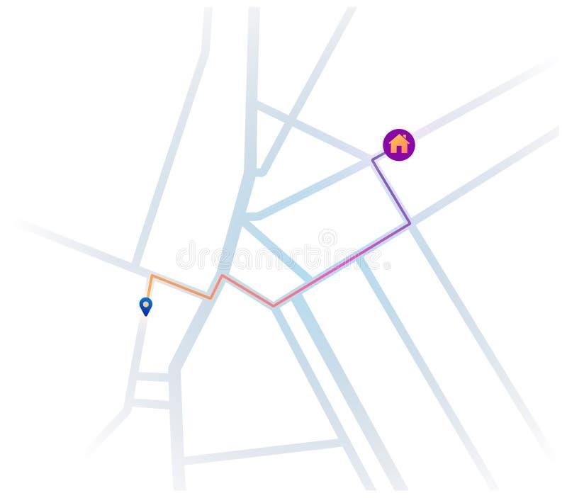 Navegación de la ruta más corta en el mapa a la casa stock de ilustración