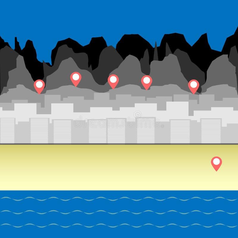 Navegación de los Gps en el fondo de la playa del mar, ciudad, bosque ilustración del vector