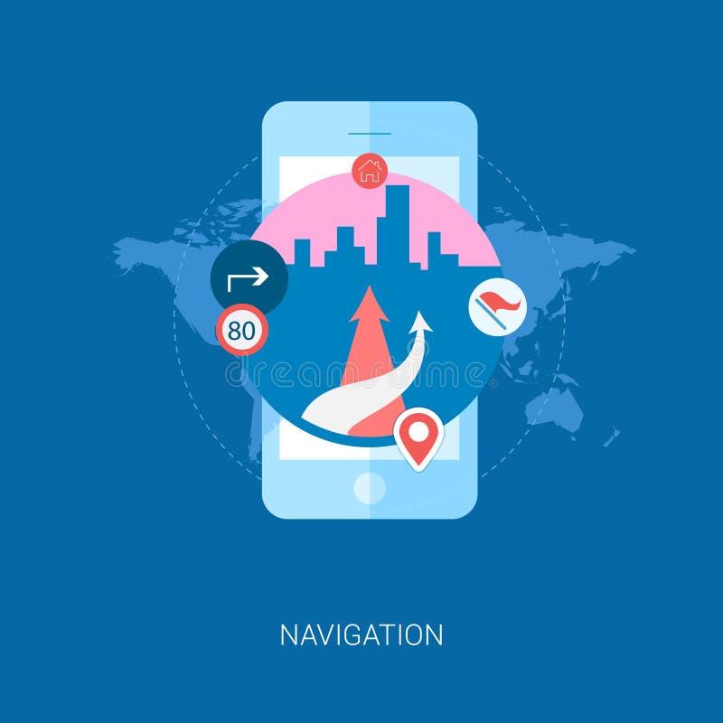 Navegación del camino en la ciudad en el smartphone plano stock de ilustración