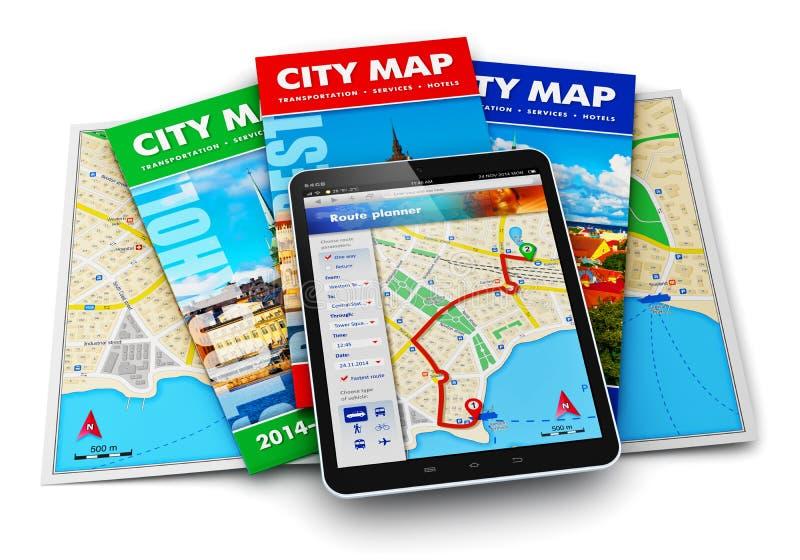 Navegación del GPS, recorrido y concepto del turismo stock de ilustración